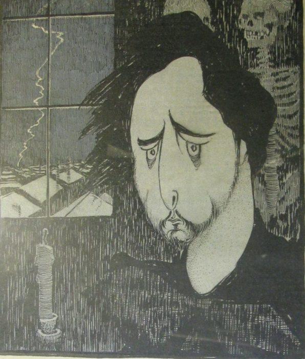 Карикатура на известного писателя и родоначальника русского экспрессионизма.