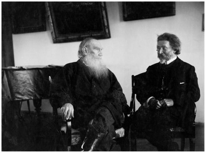 Лев Толстой и Илья Репин, 18 декабря 1908 года. Тульская губерния, Крапивенский уезд, деревня Ясная Поляна.