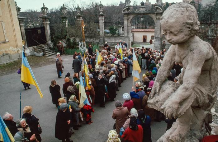Демонстрация в Киеве, 1990 год.