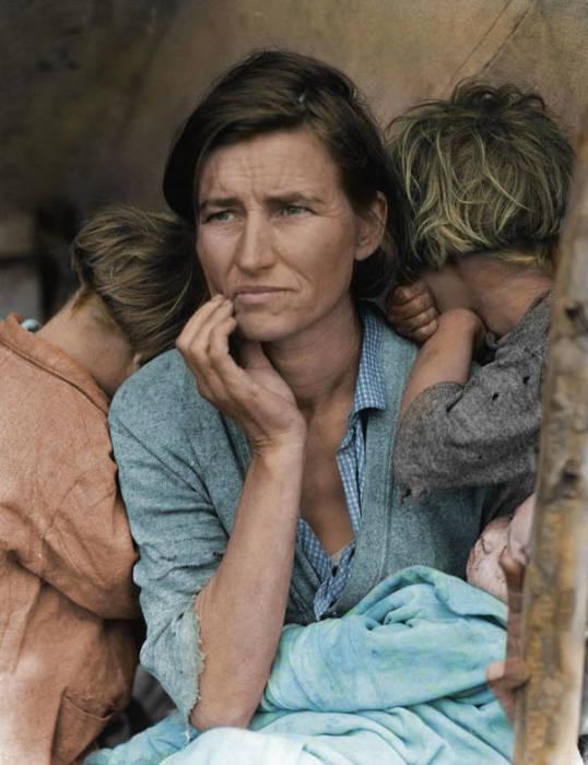Американка Флоренс Оуэнс Томпсон с детьми. Фото: Dorothea Lange, 1936.