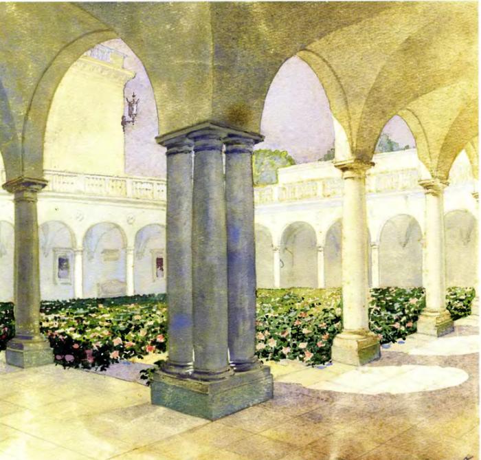 Цветы в галерее Итальянского дворика Ливадийского дворца. Автор картины: Nikolai Petrovich Krasnov.