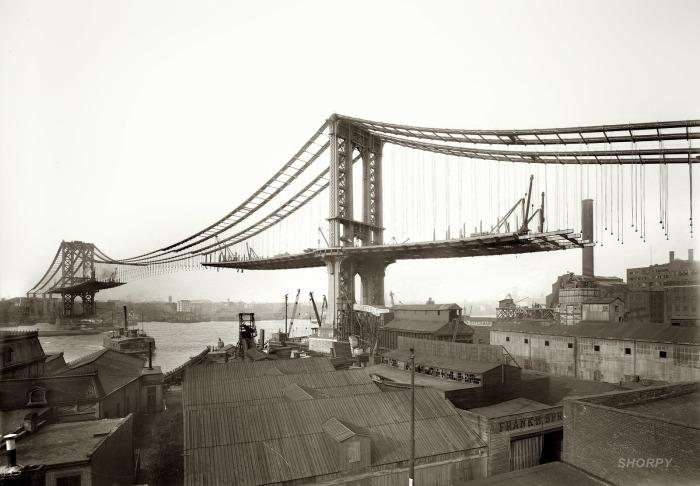 Висячий мост, пересекающий Ист-Ривер и соединяющий Манхэттен и Бруклин.