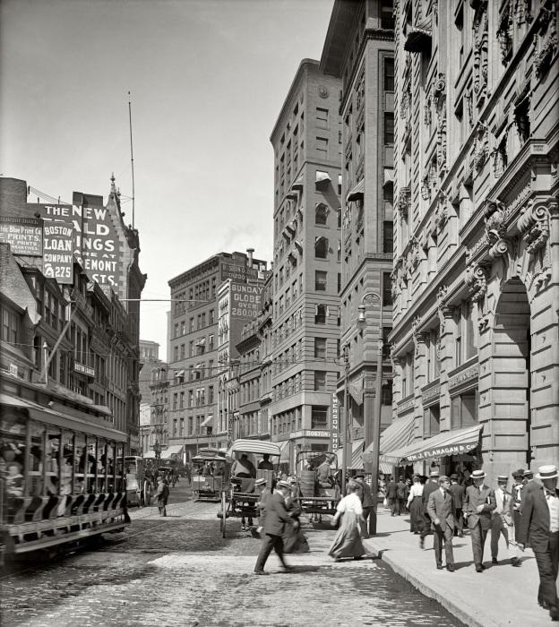 Уличная сцена. США, Бостон, 1906 год.