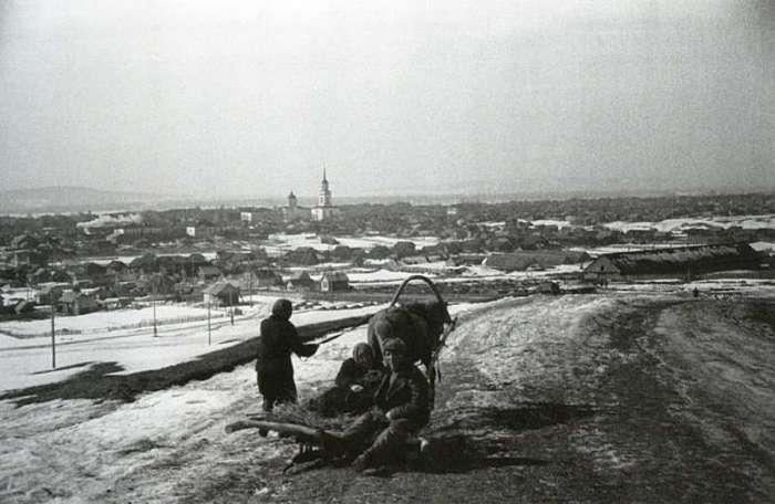 Панорама города Жигулёвск. СССР, Самарская область, 1950-е годы