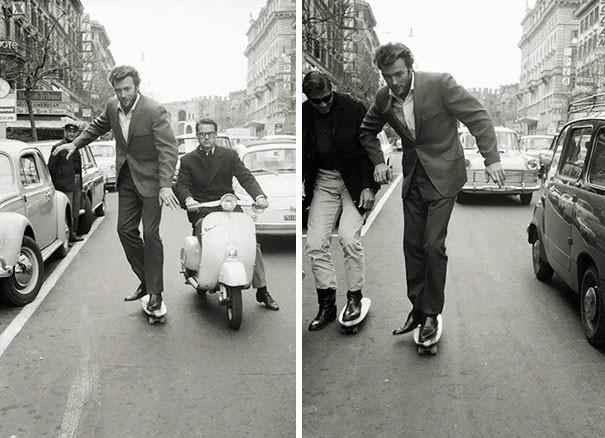 Клинт Иствуд катается на скейте по Риму.