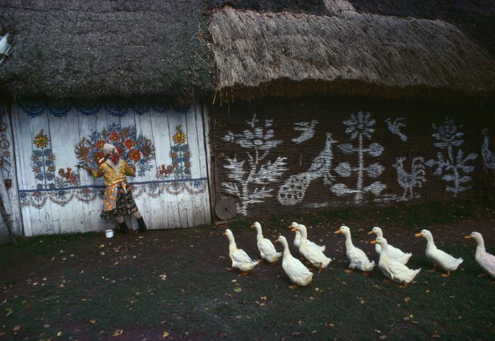 Деревня Залипье, которая известна своими расписными домами. Польша, 1976 год.