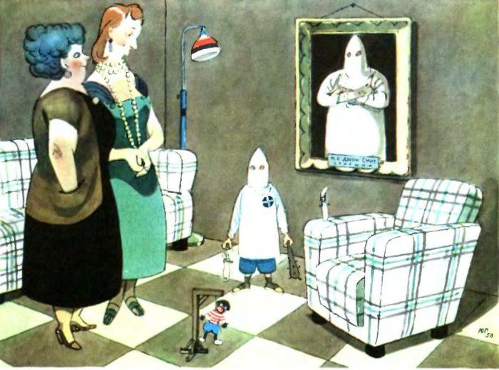 Художник высмеивает традиционную американскую тему – расизм.