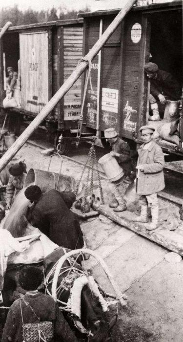 Продовольствие организации общеевропейской помощи голодающим России. СССР, Поволжье, 1922 год.