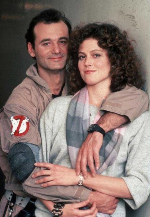 Знаменитая голливудская актриса Сигурни Уивер и актёр Билл Мюррей в 1984 году.