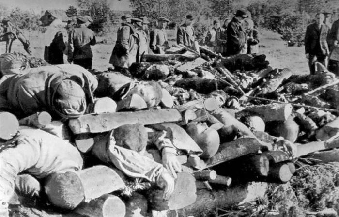 Тела узников концлагеря «Клоога», расстрелянных перед приходом Красной армии. Трупы сложены в специальные пирамиды для сожжения. Генеральный округ Эстония, Рейхскомиссариат Остланд, 1944 год.