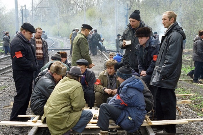 Шахтерские митинги. Россия, 1998 год.