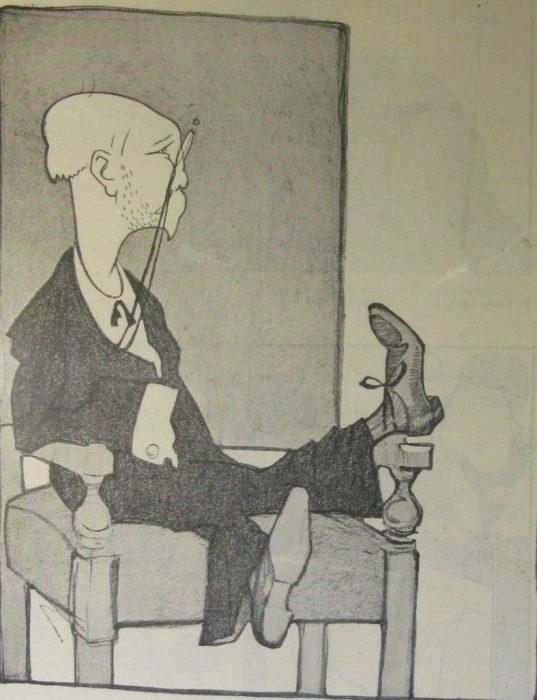 Карикатура на одного из ярких представителей символизма.