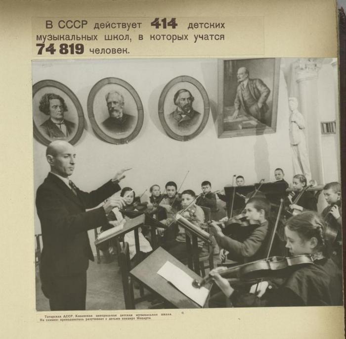 Детский оркестр готовится к концерту в музыкальной школе Казани.