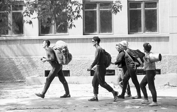 Начало прохождения спортивного туристского путешествия. СССР, 1964 год. Автор фотографии: Тарасевич Всеволод Сергеевич.