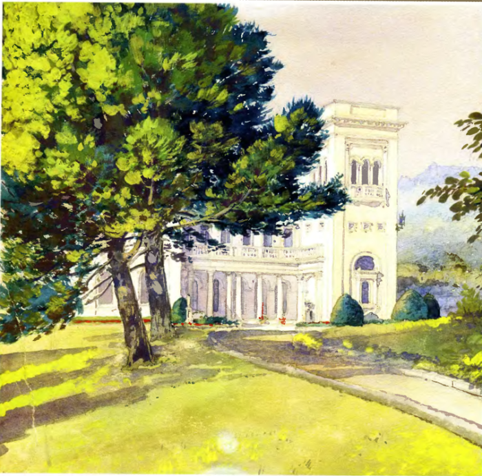Восточный фасад Ливадийского дворца. Автор картины: Nikolai Petrovich Krasnov.