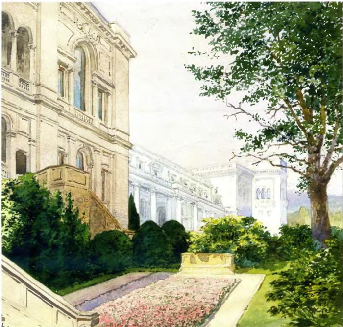 Внутренний двор. Восточный фасад Ливадийского дворца.