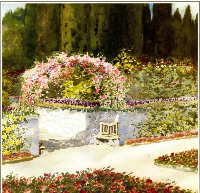 Большая арка из цветущих роз в парке имения Ливадия. Автор картины: Nikolai Petrovich Krasnov.