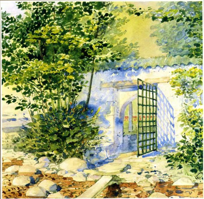 Одна из калиток в имении князя Ф.Ф.Юсупова. Деревня Коккозы. Автор картины: Nikolai Petrovich Krasnov.