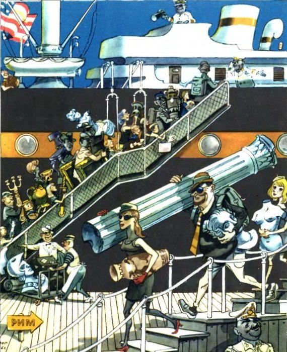 Наиболее удачная карикатура Юлия Ганфа про туристов из США.
