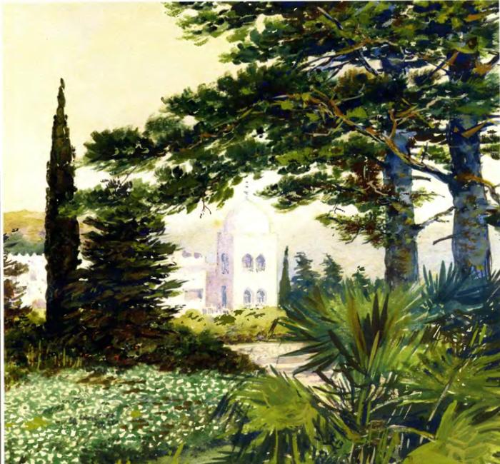Вид на дворец в имении Дюльбер, Великого князя Петра Николаевича. Автор картины: Nikolai Petrovich Krasnov.