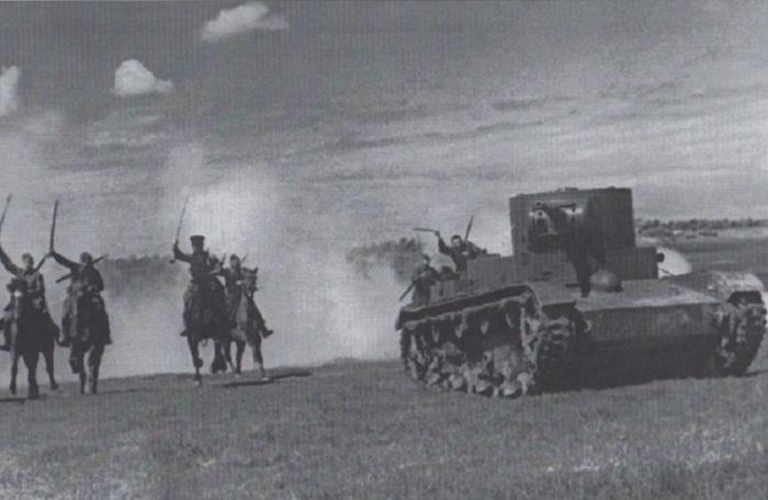 Наступление кавалерии и танковых войск. Ленинградская область, 1939 год.