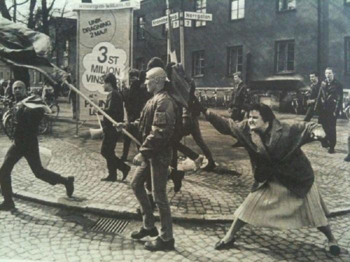 Шведка в одиночку выступила против марша неонацистов, 1985 год.