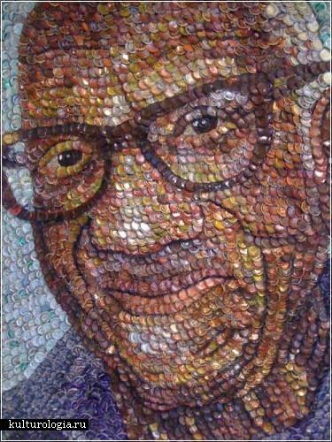 Портрет из крышек от газированных напитков