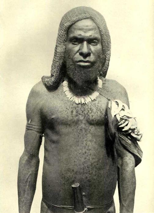 У туземца Гоелалое очень густая борода и много волос на теле, на левом плече - связка кабаньих клыков .