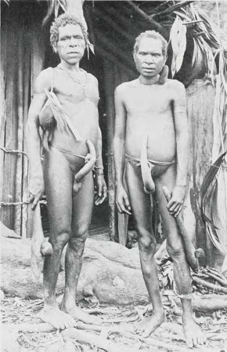 Двое мужчин с каменными топорами в руках.