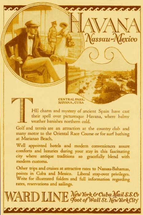 Рекламная афиша морского путешествия на Кубу. | Фото: cruiselinehistory.com.