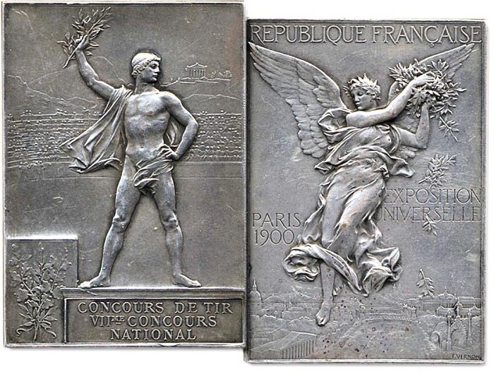 Прямоугольная медаль победителя II Олимпийских игр в Париже 1900 года. | Фото: the-saleroom.com.