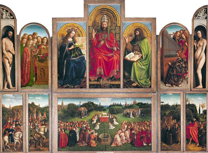 Гентский алтарь – работа Хуберта и Яна ван Эйков. XV век. | Фото: ru.wikipedia.org.
