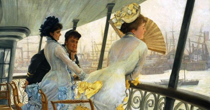 На галерее корабля HMS «Калькутта». Джеймс Тиссо, 1877 год.