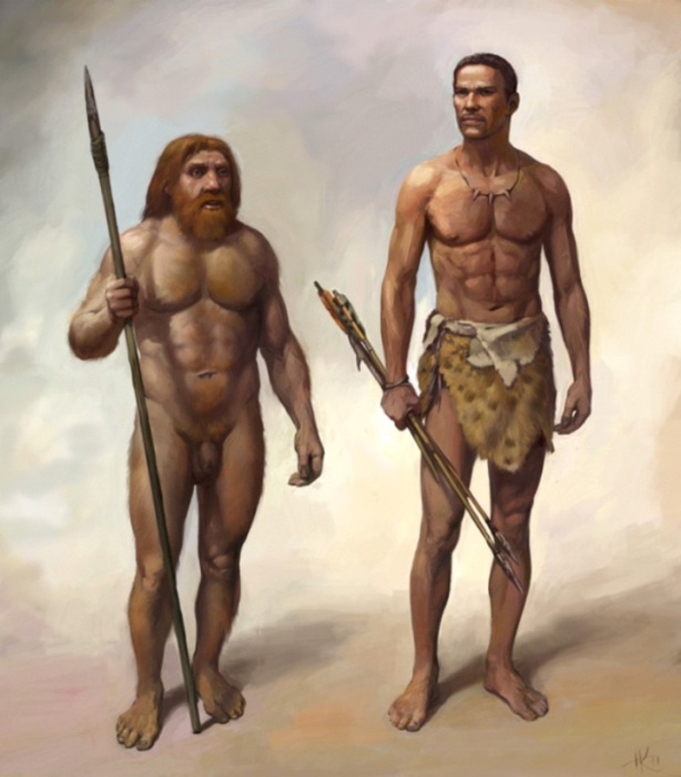 Неандерталец и Homo sapiens. | Фото: paranormal-news.ru.