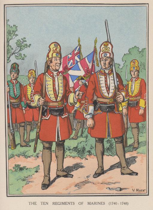 Морские пехотинцы. Британия, 1740-е гг. | Фото: royal-marines.net.