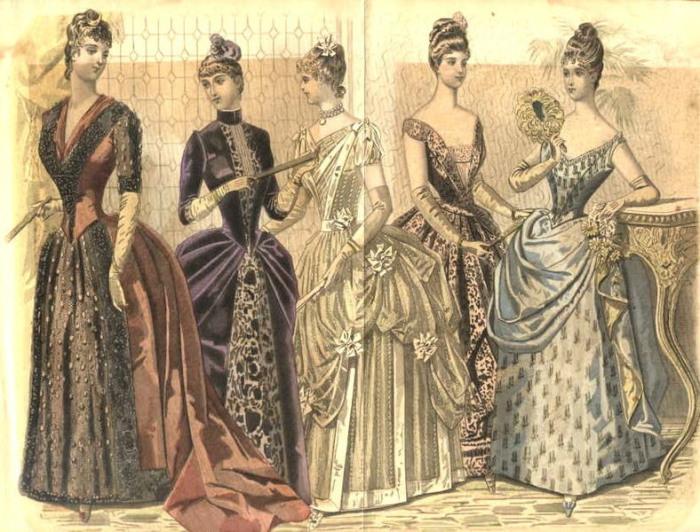 Викторианские женщины были слишком озабочены своим соответствием стандартам красоты. Рисунок из журнала мод, 1888 год. | Фото: en.wikipedia.org.