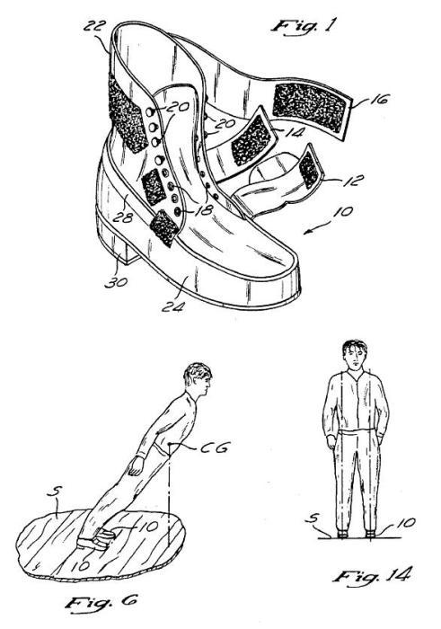 Рисунок из патентной документации обуви с антигравитационным эффектом Майкла Джексона. | Фото: m.thevintagenews.com.