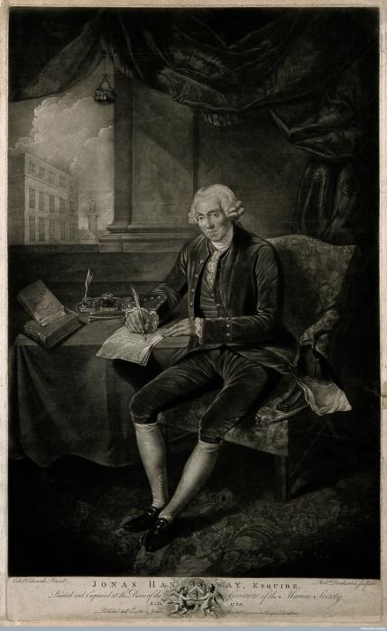Джонас Хенвей, эсквайр, в 1781 году.   Фото: atlasobscura.com.
