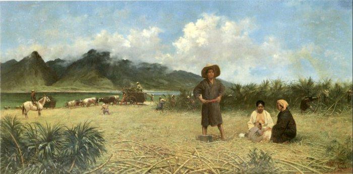 Японские рабочие на плантации Спрекельсвиль, остров Мауи, 1885 год. Автор - Джозеф Дуайт Стронг.   Фото: en.wikipedia.org.