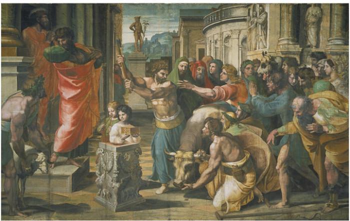Жертвенная корова на картине Рафаэля «Жертвоприношение в Листре» (1515).   Фото: commons.wikimedia.org.