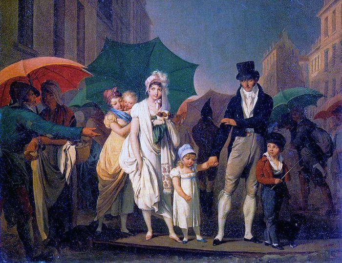 «Зонтики на улицах Парижа» Луи-Леопольда Буальи, 1803 год.   Фото: atlasobscura.com.