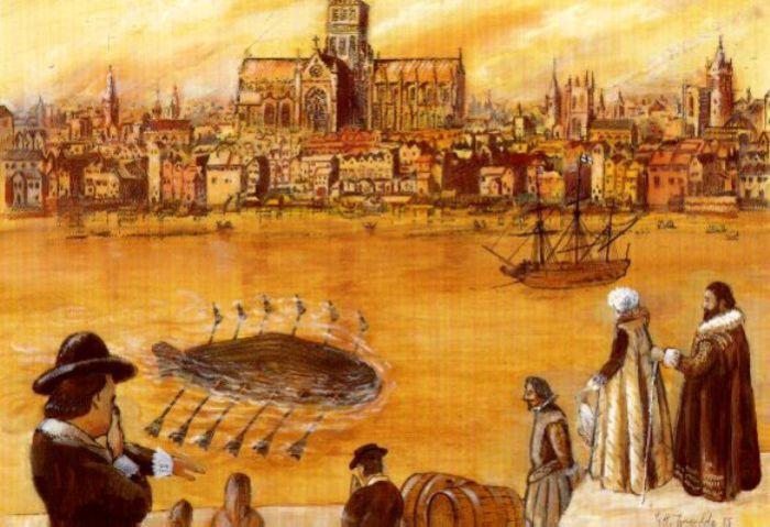 Первая в мире подводная лодка в Лондоне, 1620 год. | Фото: ru.wikipedia.org.