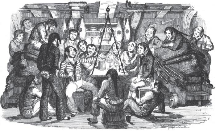 Иллюстрация «Субботний вечер в море» из книги песен, изданной в Лондоне в 1841 году. | Фото: atlasobscura.com.