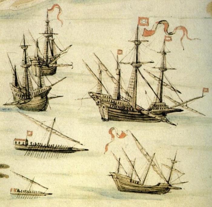 Португальские галеоны XVI века. | Фото: atlasobscura.com.
