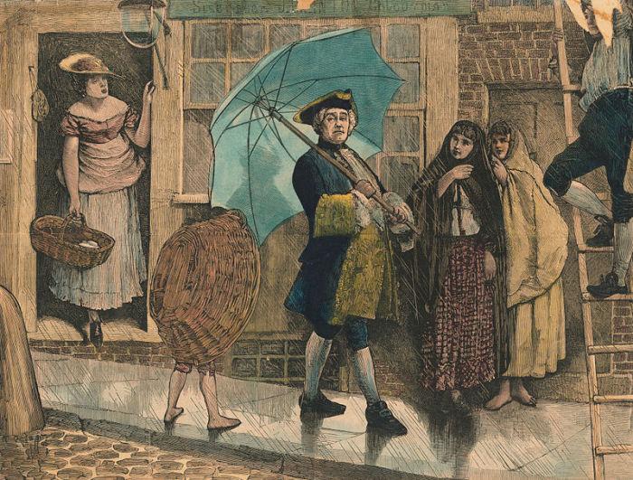 Джонас Хенвей гуляет под дождем с необычным предметом - зонтиком. | Фото: atlasobscura.com.
