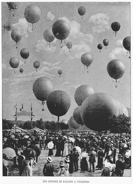 Гонка на воздушных шарах в Париже, 1900 год. | Фото: ndl.go.jp.