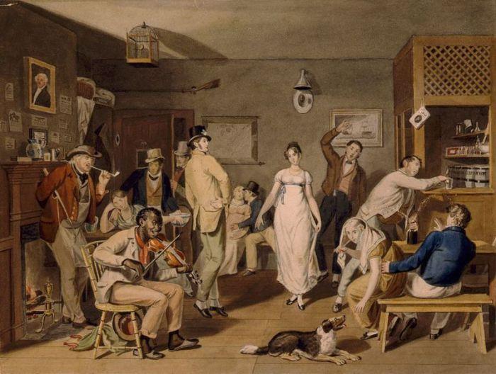 До появления ресторанов, европейцам могли покушать в тавернах и постоялых дворах - там находилось много других занятий.   Фото: atlasobscura.com.