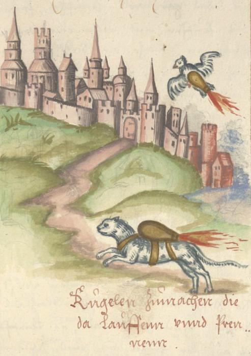 Как поджечь вражеский замок с помощью птицы и кота. Иллюстрация из манускрипта Feuer Buech, 1584 год. | Фото: dla.library.upenn.edu.