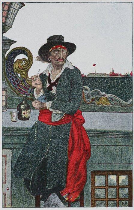 Английский капер капитан Уильям Кидд отдыхает на палубе своего корабля. Автор Говард Пайл. | Фото: en.wikipedia.org.