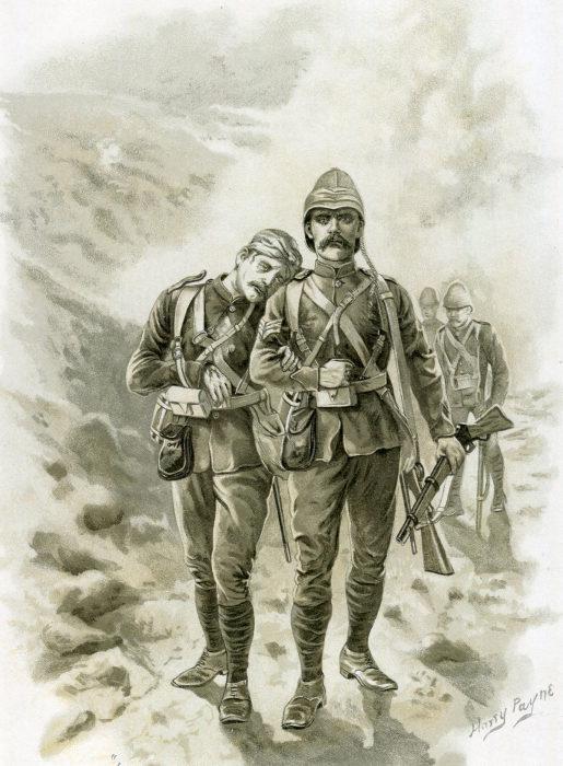 Солдаты из 66-го полка, уцелевшие после битвы при Майванде. Harry Payne. | Фото: britishbattles.com.